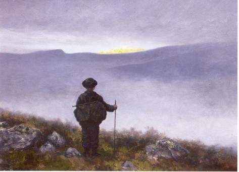 Modern portrayal of a lonely quest in the wilderness.