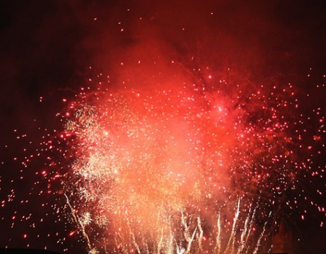 Fireworks during a typical Chinese New Year celebration.